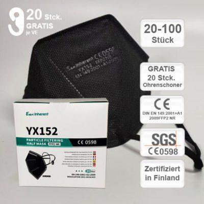 EexiInherent yx152 ffp2 atemschutzmaske black schwarz