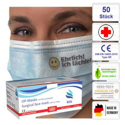MNS-MedPRO-kela-OP-Maske-blau bedruckt Ehrlich ich lächle